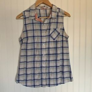 prAna blue white plaid sleeveless button up size S